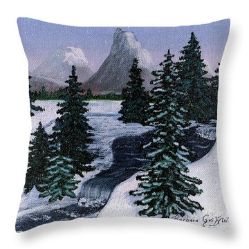 Cold Mountain Brook Throw Pillow by Barbara Griffin