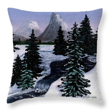Cold Mountain Brook Painterly Throw Pillow by Barbara Griffin