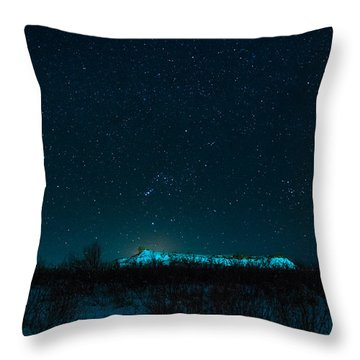 Cold Night On The Saddle Horn Throw Pillow