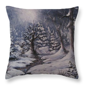 Throw Pillow featuring the painting Cold Snap by Megan Walsh