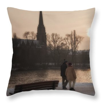 Cold Winter Light Throw Pillow by Joan Carroll
