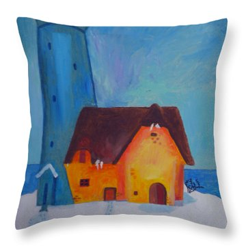 Throw Pillow featuring the painting Colette First Paint Year 1986 by Colette V Hera  Guggenheim
