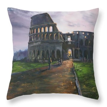 Throw Pillow featuring the painting Coliseum Rome by Jean Walker