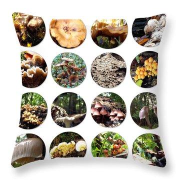 Collage Of Mushrooms Throw Pillow by Yvon van der Wijk