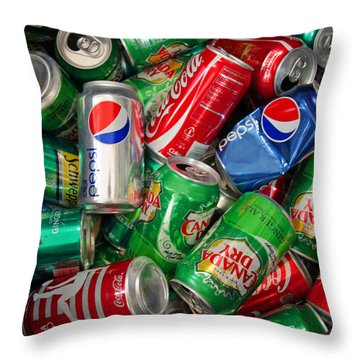 Collection Of Cans 02 Throw Pillow by Andy Lawless
