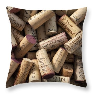 Collection Of Fine Wine Corks Throw Pillow by Adam Romanowicz