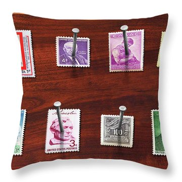 Collector - Stamp Collector - My Stamp Collection Throw Pillow by Mike Savad