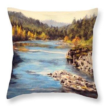 Colliding Rivers Fall Throw Pillow by Karen Ilari