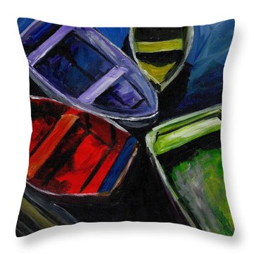 Colliding Skiffs Throw Pillow