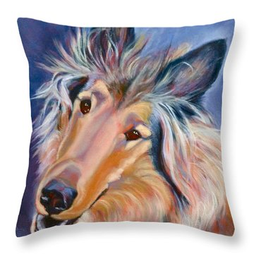 Collie Star Throw Pillow