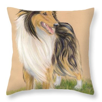 Collie Throw Pillow by Ruth Seal