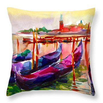 Coloful Venice Boats Painting Throw Pillow