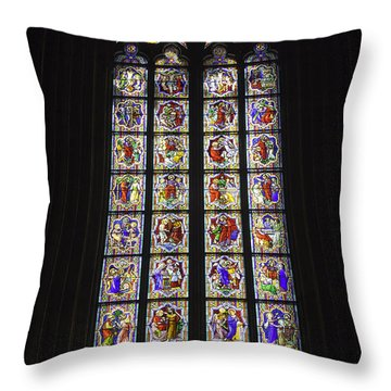 Cologne Cathedral Stained Glass Life Of Christ Throw Pillow