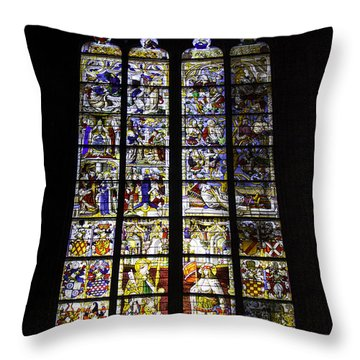 Cologne Cathedral Stained Glass Window Of St Peter And Tree Of Jesse Throw Pillow