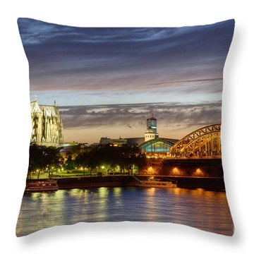 Cologne Cathedral With Rhine Riverside Throw Pillow