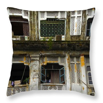 Colonial Facade Bo Soon Pat Street 8th Ward Central Yangon Burma Throw Pillow by Ralph A  Ledergerber-Photography