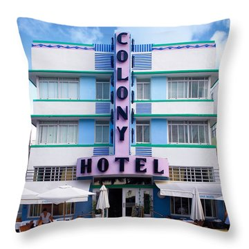 Colony Hotel Daytime Throw Pillow by Gary Dean Mercer Clark