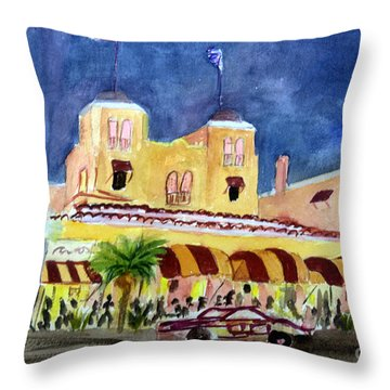 Colony Hotel In Delray Beach Throw Pillow by Donna Walsh