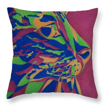 Throw Pillow featuring the painting Color Cat I by Pamela Clements