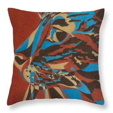 Throw Pillow featuring the painting Color Cat II by Pamela Clements
