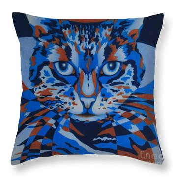 Throw Pillow featuring the painting Color Cat IIi by Pamela Clements