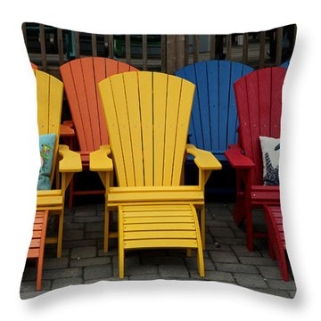 Throw Pillow featuring the photograph Color Chairs 001 by Dorin Adrian Berbier