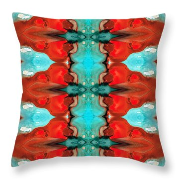Color Chant - Red And Aqua Pattern Art By Sharon Cummings Throw Pillow by Sharon Cummings