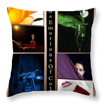 Color Collage Throw Pillow by Camille Lopez