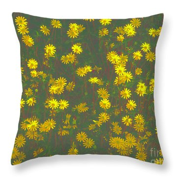 Color Flower Wall Throw Pillow