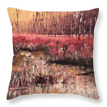 Throw Pillow featuring the painting Color In The Wetlands by Jim Phillips