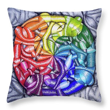Color Interlaced 2 Throw Pillow