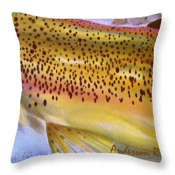 Color Me Trout- Brown Throw Pillow by Anderson R Moore