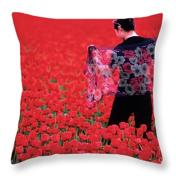 Color Me Tulip Throw Pillow by Bob Christopher