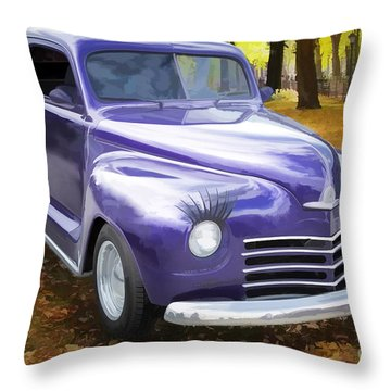 Color Painting Of A Complete 1948 Plymouth Classic Car 3389.02 Throw Pillow