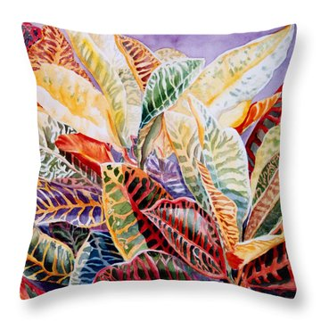 Color Patterns - Crotons Throw Pillow by Roxanne Tobaison
