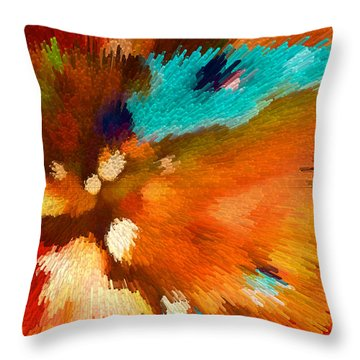 Color Shock 1 - Vibrant Digital Painting Throw Pillow by Sharon Cummings