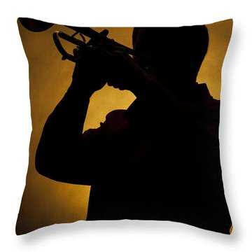 Color Silhouette Of Trumpet Player 3019.02 Throw Pillow
