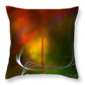 Throw Pillow featuring the digital art Color Symphony With Red Flow 1 by Johnny Hildingsson