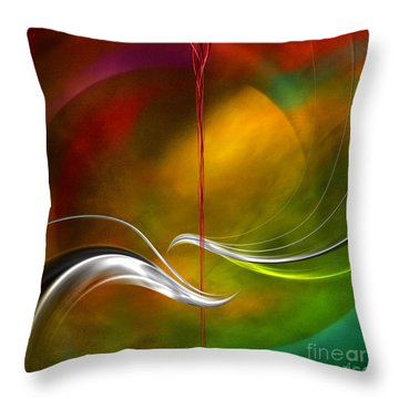 Color Symphony With Red Flow 2 Throw Pillow by Johnny Hildingsson