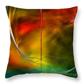 Color Symphony With Red Flow 3 Throw Pillow by Johnny Hildingsson
