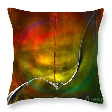 Color Symphony With Red Flow 4 Throw Pillow by Johnny Hildingsson