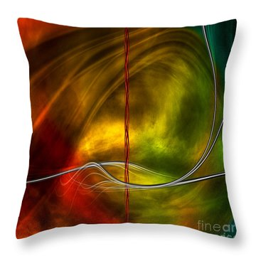Color Symphony With Red Flow 5 Throw Pillow by Johnny Hildingsson