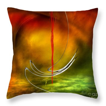 Color Symphony With Red Flow 6 Throw Pillow by Johnny Hildingsson