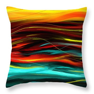 Throw Pillow featuring the painting Color Waves by Shawna Rowe