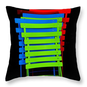 Throw Pillow featuring the photograph Colorful Cafe Chairs by Dany Lison