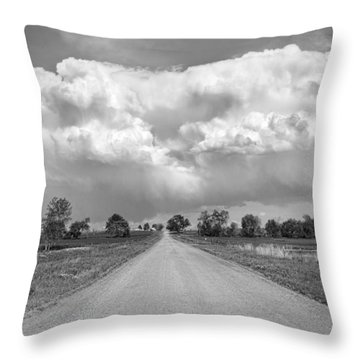 Colorado Country Road Stormin Bw Skies Throw Pillow by James BO  Insogna