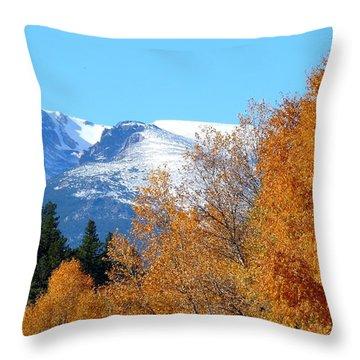 Colorado Mountains In Autumn Throw Pillow by Marilyn Burton