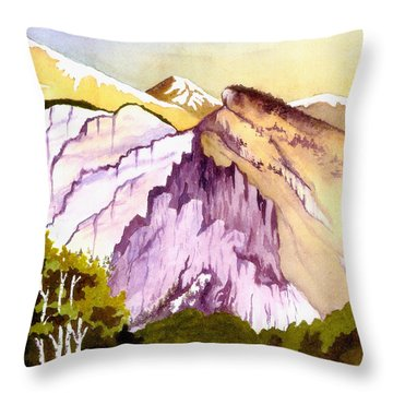 Throw Pillow featuring the painting Colorado Mountains In Their Purple Majesty by Nan Wright