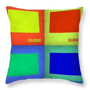 Colorado Pop Art Map 2 Throw Pillow by Naxart Studio