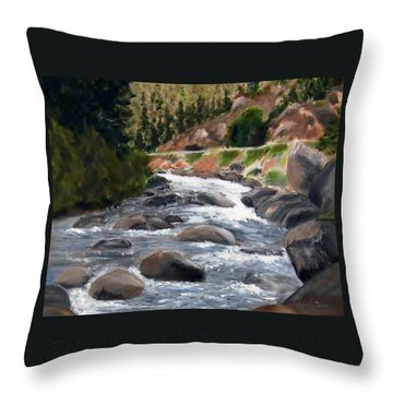 Throw Pillow featuring the painting Colorado Rapids by Jamie Frier